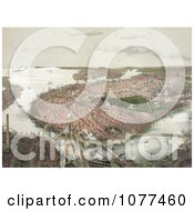Painting Of An Aerial View Of Boston As Seen From The North Royalty Free Historical Clip Art