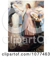 Painting Of A Girl In A Pink Dress Feeding Peacocks By Frederic Lord Leighton