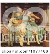 Painting Of A Woman Teaching A Girl How To Play An Instrument Music Lesson By Frederic Lord Leighton Royalty Free Historical Clip Art by JVPD