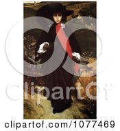 Painting Of A Woman In Black And Red Walking Outdoors May Sartoris By Frederic Lord Leighton Royalty Free Historical Clip Art by JVPD
