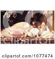 Painting Of A Daughter Feeding Her Mother Fruit Mother And Child By Frederic Lord Leighton Royalty Free Historical Clip Art by JVPD