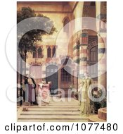 Painting Of A Women And Girl Trying To Catch Apples From An Apple Tree In A Courtyard Damascus JewS Quarter By Frederic Lord Leighton