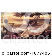 Painting Of Women Watching A Man Playing A Flute Idyll By Frederic Lord Leighton Royalty Free Historical Clip Art