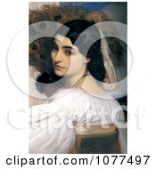 Painting Of A Woman Posing With Peacock Feathers Royalty Free Historical Clip Art