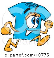 Clipart Picture Of A Blue Short Sleeved T Shirt Mascot Cartoon Character Running by Toons4Biz