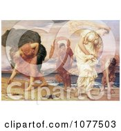 Painting Of Greek Girls Picking Up Pebbles By The Sea By Frederic Lord Leighton Royalty Free Historical Clip Art