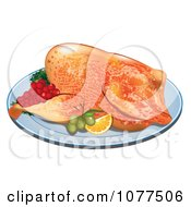 Roasted Thanksgiving Turkey On A Platter With Fruit