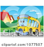 Clipart Cheerful School Bus Character On A Road Royalty Free Vector Illustration