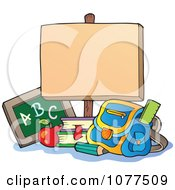 Clipart School Items Below A Blank Sign Royalty Free Vector Illustration