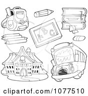 Clipart Outlined School Items A Bus And Building 1 Royalty Free Vector Illustration