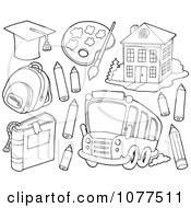Clipart Outlined School Items A Bus And Building 2 Royalty Free Vector Illustration