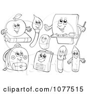 Clipart Outlined School Item Characters 2 Royalty Free Vector Illustration