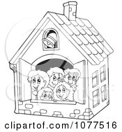 Clipart Outlined Children In A School House Royalty Free Vector Illustration by visekart