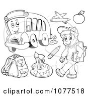 Clipart Outlined School Boy And Items Royalty Free Vector Illustration