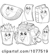 Clipart Outlined School Item Characters 1 Royalty Free Vector Illustration