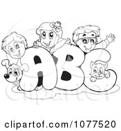 Clipart Outlined Dog Cat And School Children On ABC Royalty Free Vector Illustration by visekart