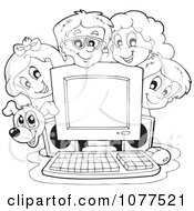 Clipart Outlined Dog And School Children Around A Computer Royalty Free Vector Illustration