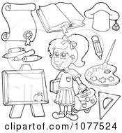 Clipart Outlined School Girl With Items 2 Royalty Free Vector Illustration