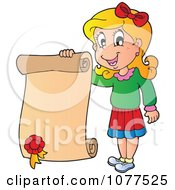 Clipart Happy School Girl Holding A Certificate Royalty Free Vector Illustration by visekart