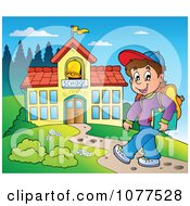 Clipart Happy School Boy Walking On A Path To A Building Royalty Free Vector Illustration by visekart