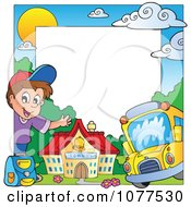 Clipart Happy School Boy Building And Bus Frame Royalty Free Vector Illustration by visekart