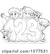 Clipart Outlined Dog Cat And School Children On 123 Royalty Free Vector Illustration by visekart