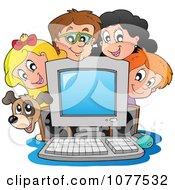 Clipart Dog And School Children Around A Computer Royalty Free Vector Illustration by visekart