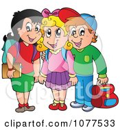 Clipart Three School Children Smiling Royalty Free Vector Illustration