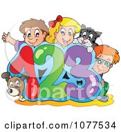 Clipart Dog Cat And School Children On 123 Royalty Free Vector Illustration by visekart