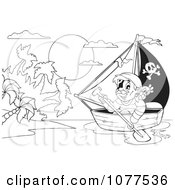 Clipart Outlined Pirate Rowing Towards An Island Royalty Free Vector Illustration