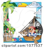 Clipart Pirate And Treasure Frame Royalty Free Vector Illustration