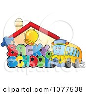 Clipart Back To School Greeting With A Building And Bus Royalty Free Vector Illustration