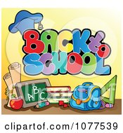 Clipart Back To School Greeting With Supplies Royalty Free Vector Illustration