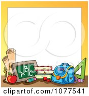 Clipart Yellow Frame With School Supplies 1 Royalty Free Vector Illustration
