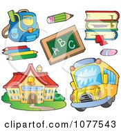 Clipart School House Bus And Supplies Royalty Free Vector Illustration