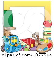Yellow Frame With School Supplies 2