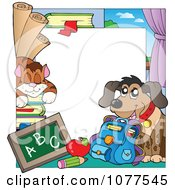Clipart Cat And Dog School Frame Royalty Free Vector Illustration