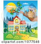 Clipart Professor Owl By A School Building Royalty Free Vector Illustration by visekart