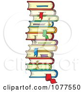 Stack Of School Books With Bookmarks