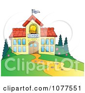 Clipart School Building With A Bell Tower Royalty Free Vector Illustration by visekart