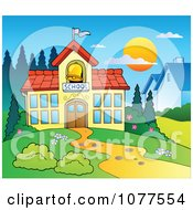 Clipart Path And School Building Royalty Free Vector Illustration by visekart