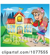 Clipart Happy Female Student Walking To School Royalty Free Vector Illustration by visekart