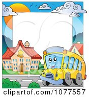 Clipart School Bus And Building Frame Royalty Free Vector Illustration by visekart