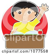 Clipart Smart Asian School Boy Raising His Hand At His Desk Royalty Free Vector Illustration
