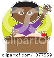 Clipart Smart Black School Boy Raising His Hand At His Desk Royalty Free Vector Illustration