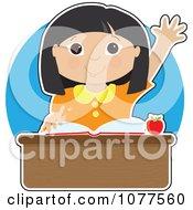 Smart Asian School Girl Raising Her Hand At Her Desk