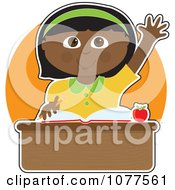 Clipart Smart Black School Girl Raising Her Hand At Her Desk Royalty Free Vector Illustration