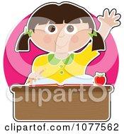 Smart Caucasian School Girl Raising Her Hand At Her Desk