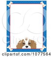 Blue Dog Bone Border And A Cavalier King Charles Face With White Copy Space