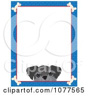 Blue Dog Bone Border And A Schnauzer Face With White Copy Space